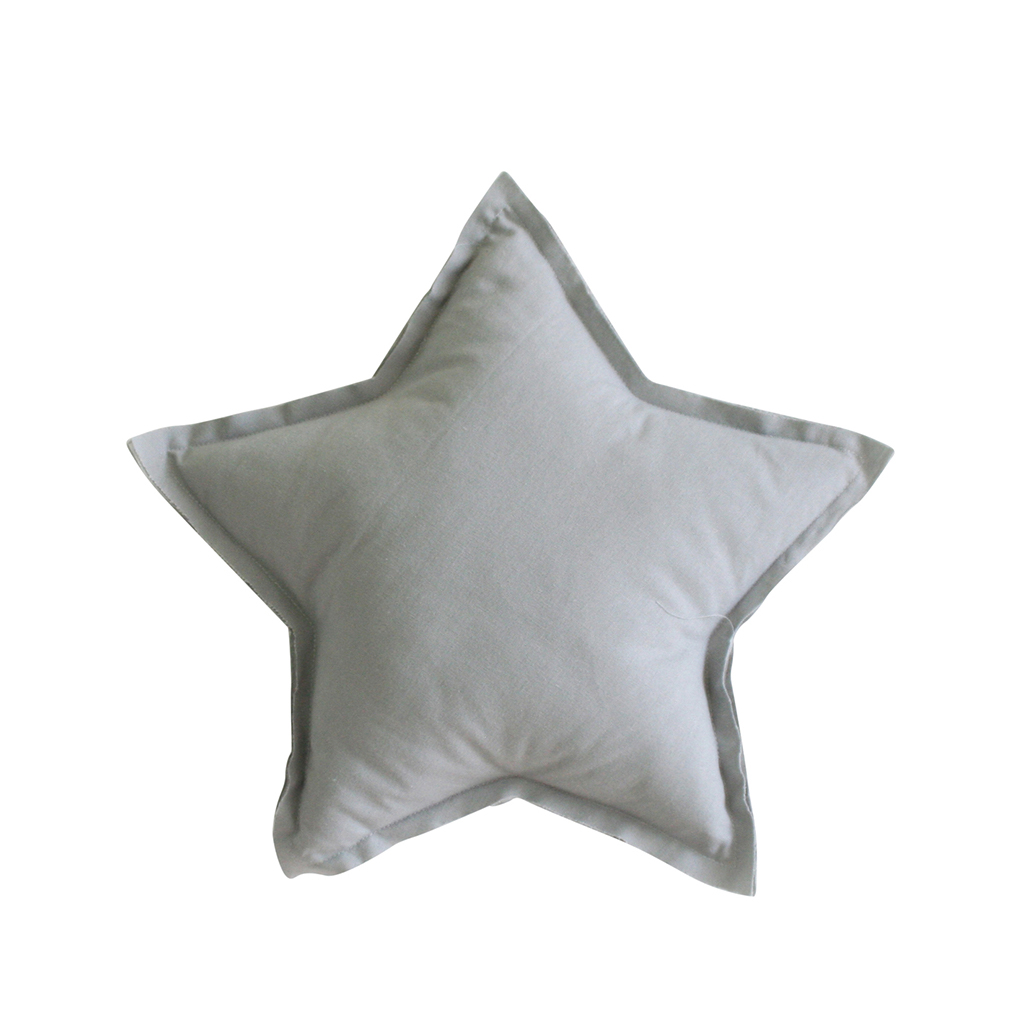 Linen Star Pillow, 40cm, Grey