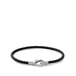 [FSMI02901] Knox Leather Bracelet, Sterling Silver, Black